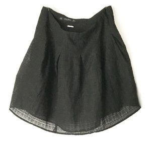 Zara Basic Black Chiffon Pleated Flare Mini Skirt